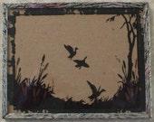 Vintage Reverse Painted Flying Ducks Silhouette Framed - 1940