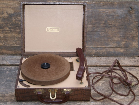 Vintage Portable Record Player By Supreme Vintage Record