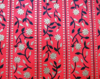 Vintage Cotton Fabric - Bright Red Fabric - Bands of Flowers in Metallic Gold and Black