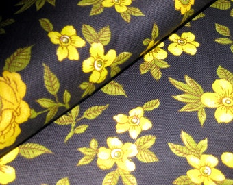 Vintage Cotton Fabric - Black Olive and yellow Floral Print - Linen Like