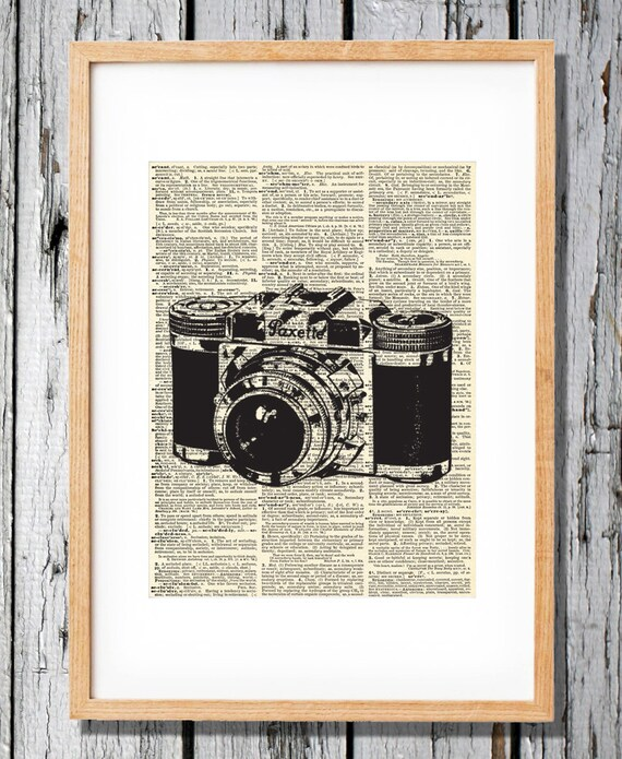 Vintage Camera 3 - Paxette - Art Print on Vintage Antique Dictionary Paper - Photography - Flash - Picture