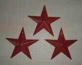 "Primitive Tin Burgandy Barn Star Craft Supply Set/3 3.5"""