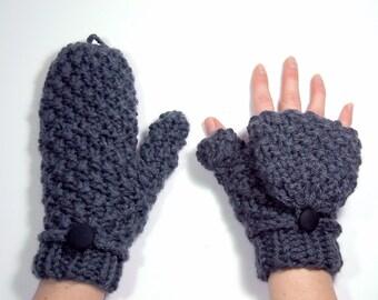 Mittens that Convert to Fingerless Gloves, Gray Glittens