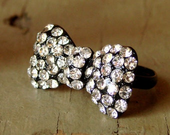 Fun & Flirty Black Bow with Rhinestones Adjustable Ring