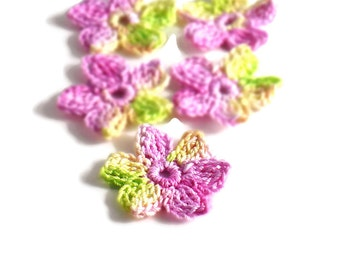 Crochet Applique Mini Flower Motif Flower Embellishment Crochet Flower Applique Pink Lime Green Yellow Crochet Motif Crochet Flower Motif