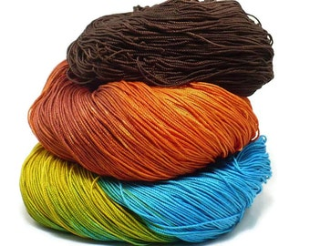 300 Yards Hand Dyed Cotton Crochet Thread Size 10 3 Ply Specialty Thread Brown Golden Yellow Warm Orange Blue Hand Painted Cotton Yarn