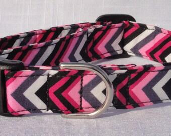 Pet Collar - Pink & Black Chevron Print Dog Collar Pet Collar CUTE Designer Custom Dog Collar Cat Collar Pet Collar