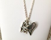 Love and striped heart sterling silver necklace