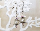 Ivory Pearl and Crystal Earrings