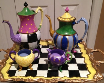 Painted Tea Set // painted Silver Tea Set // Whimsical Painted Tea Set
