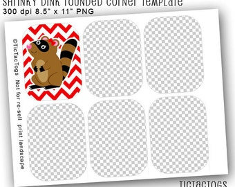 Instant Download - SD Shrinky Rounded Corners Template Collage Set PNG DIY Make Your Own