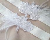 White Beaded Lace Garter Set Ostrich Feather Wedding Accented Bridal Wedding Garter Set