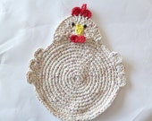 SALE -Crocheted Chicken Pot Holder/Hot Pad in Beige