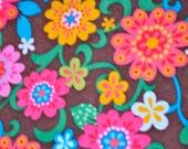 Brown Flowers Printed Felt