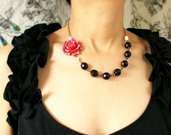 Red Rose Statement Necklace, red statement necklace, wedding jewelry, red Valentine, bridesmaid jewelry