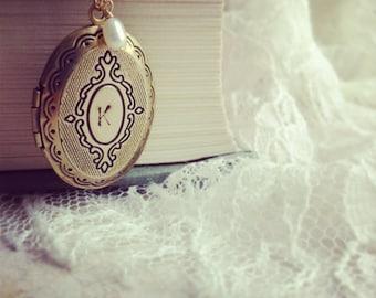 Personalized jewelry, Initial locket pendant necklace, two initials Gold Initial Locket Pendant personalized necklace gift for her