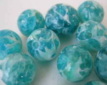 Aqua Blue White Beads Plastic Vintage