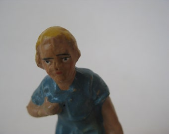 Boy Figurine Milk Vintage Composition Putz Germany