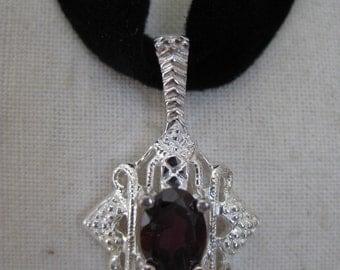 Red Garnet Filigree Necklace Sterling Silver Black Velvet Pendant Avon 925