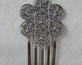 Flower Necklace Filigree Silver Dangle Pendant Vintage
