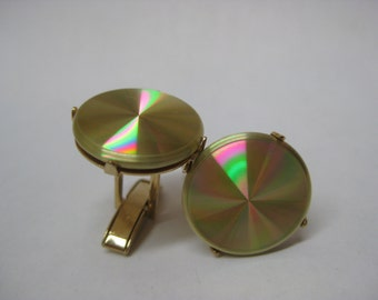 Colorful Gold Cuff Links Vintage