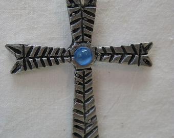 Cross Silver Blue Necklace Vintage Pendant Christian Glass