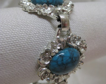Chunky Turquoise Silver Bracelet Vintage