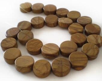 Natural Brown Wood Jasper Coin stone gemstone beads Full Strand