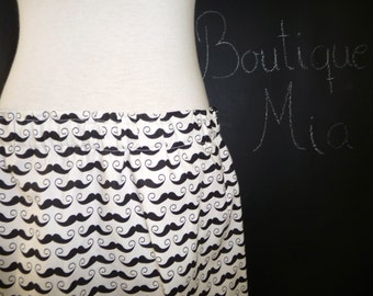 BUY 2 get 1 FREE - Skirt - Mustaches  - Black and Cream - Made in ANY Size - Boutique Mia