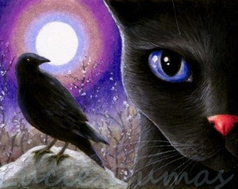 ACEO art print black Cat 570 crow raven painting by Lucie Dumas