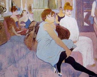 Salon in the Rue des Moulins by Toulouse-Latrec - a Frameable, Vintage 1954 Frameable Art Print