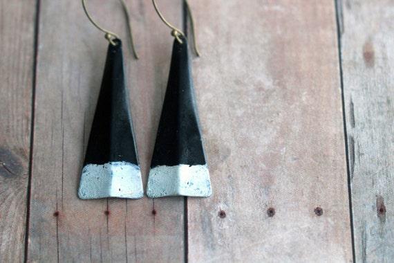 Modern Triangle Earrings - Black, White, Granite Gray Patina - Minimalist - Tribal, Rustic Brass - Geometric Dangles - Gift Box