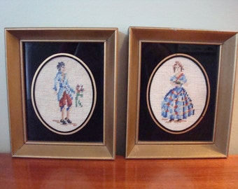 A pair of vintage Victorian framed needlepoint/petit point man and woman