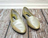 Vintage Women Loafers Size 8.5- Penny Loafer - Metallic Shoes - Silver Shoes - Gold Shoes