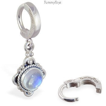 moonstone and sterling silver belly button ring by tummytoys