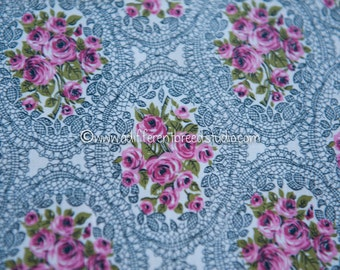 """Roses and Lace - Vintage Fabric Shabby Chic Valentine's Day Novelty Victorian Look 34"""" wide"""
