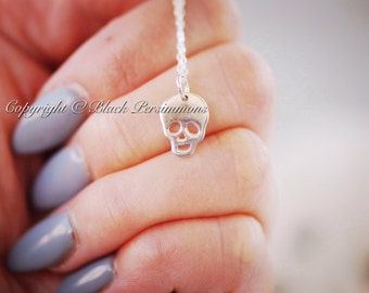 Drogo Necklace - Sterling Silver Skull Skeleton Halloween Charm - Free Domestic Shipping