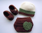 Let's Hear it for the Boys Cream, Sage, and Chocolate Beanie, Bootie, and Bum Cover set Size Newborn