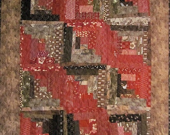 Patchwork Quilt - red and brown Japanese Log Cabin