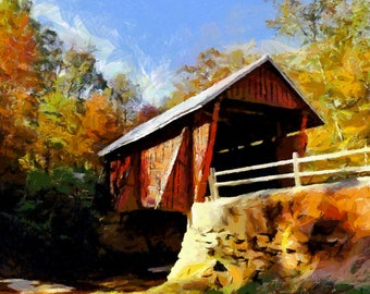 Campbells Covered Bridge - Giclee' Print on Watercolor Paper