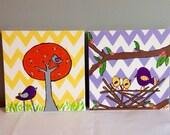 Nursery wall hanging wall art -set of 2 - chevron birds - yellow purple