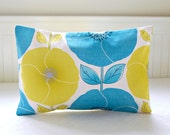 blue yellow decorative pillow cover,  poppies and leaves lumbar cushion cover 12 x 18 inch