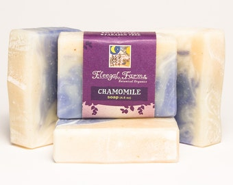 Chamomile Soap Natural/ Handmade/ Artisan. Generous 4.5 oz  Vegan Bar. Made with Rainwater & Pure Essential Oil.