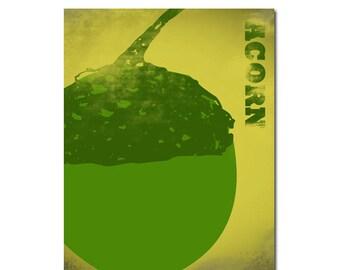 Acorn fine art print - Fall season, fruit, acorn modern art, decor, Mothers Day