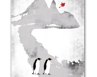 Penguins in Antarctica  Fine Art Print Black and white with red bird sitting on it Modern decor blue black wedding gift