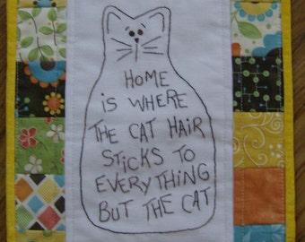 Cat Mini Stitchery Quilt