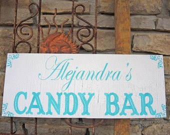 Candy Bar Signs Wedding Signs Self Standing / Hand Painted 18x7 Party Signs