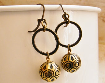 Gold and Black Vintage style Dangling Earrings