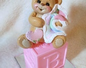 baby shower cake topper teddy bear polymer clay personalized decoration children girl