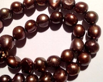 """Corn Pearl Baroque Pearl Freshwater Pearl stunning dark brown color 8-9mm AAA----15"""" full strand 50 pcs  #CB6037 NEW Arrival"""